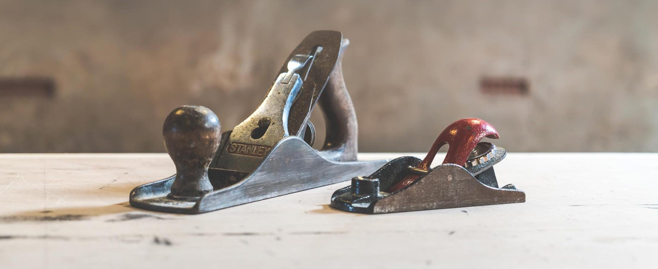 A Stanley Block Plane and Bench Plane.
